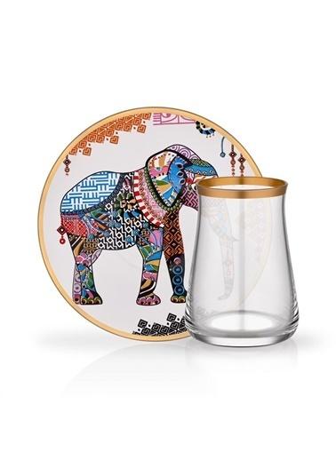 Glore Tarabya Elephant 2'li Çay Seti Renkli